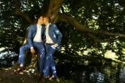 Same sex wedding portrait in a park in Copenhagen, Denmark.