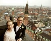 Wedding portrait in the Copenhagen City Hall Tower.