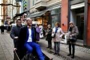 Same sex wedding portrait in the streets of Copenhagen.