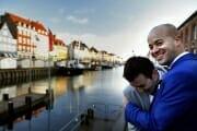 Same sex wedding portrait in Nyhavn in Copenhagen.