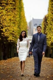 City Hall wedding portrait in Rosenborg Castle gardens in Copenhagen.