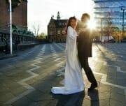 Wedding portrait in front of the Copenhagen City Hall.